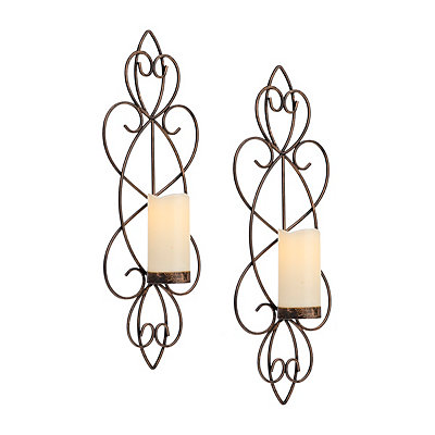 Copper Scrolled Sconces, Set of 2