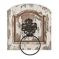 Distressed Scrolled Black Medallion Towel Ring