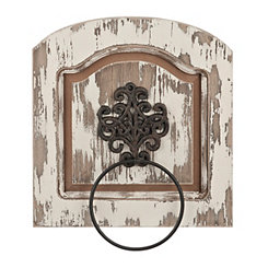 Distressed Scrolled Black Medallion Towel Ring