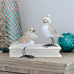 Standing Glittered Winter Birds, Set of 2