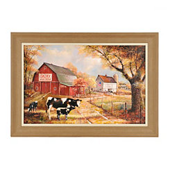 Autumn Dairy Farm Framed Art Print