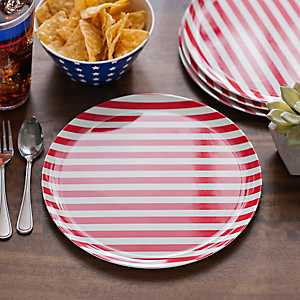Red and White Stripes America Plates, Set of 4