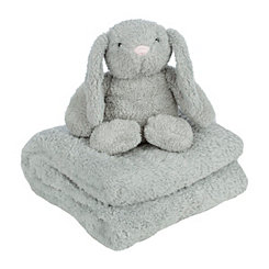 Bunny Plush Toy and Throw Blanket Set
