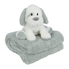Puppy Plush Toy and Throw Blanket Set
