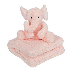 Pink Elephant Plush Toy and Throw Blanket Set