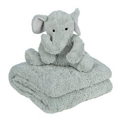 Elephant Plush Toy and Throw Blanket Set