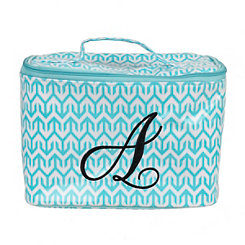 Turquoise Arrow Monogram A Cosmetic Train Case