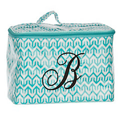 Turquoise Arrow Monogram B Cosmetic Train Case