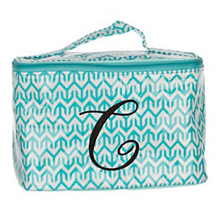 Turquoise Arrow Monogram C Cosmetic Train Case