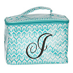 Turquoise Arrow Monogram J Cosmetic Train Case