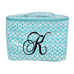 Turquoise Arrow Monogram K Cosmetic Train Case