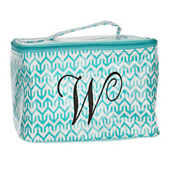 Turquoise Arrow Monogram W Cosmetic Train Case