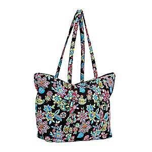 Waverly Black Floral Tote Bag