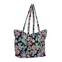 Waverly Black Floral Tote Bag