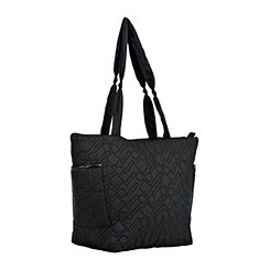 Black Quilted Dot Dash Tote Bag