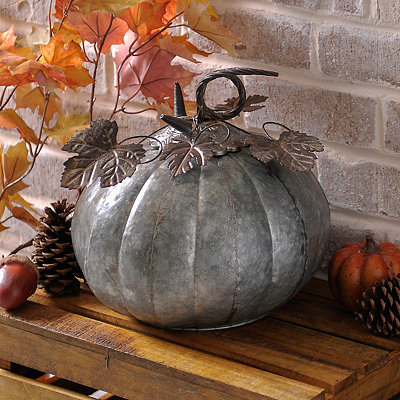 Silver Galvanized Metal Pumpkin, 12 in.