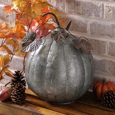 Silver Galvanized Metal Pumpkin, 15 in.