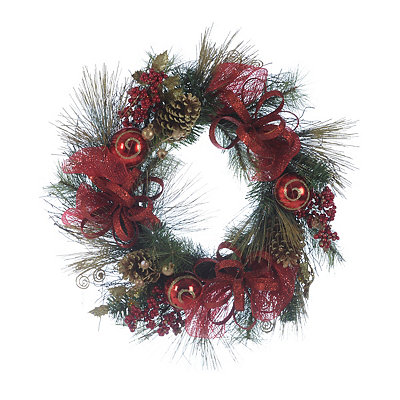 Red and Gold Glitter Pine Wreath