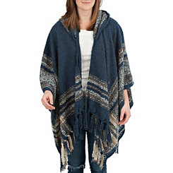 Blue Striped Hooded Wrap
