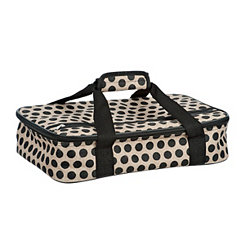 Black Burlap Polka Dot Casserole Carrier