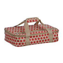 Red Burlap Polka Dot Casserole Carrier