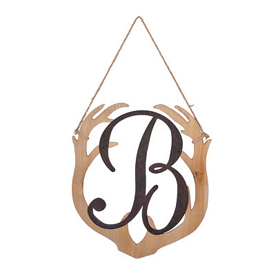 Wooden Antler Monogram B Plaque