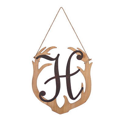 Wooden Antler Monogram H Plaque