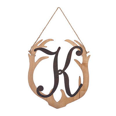 Wooden Antler Monogram K Plaque