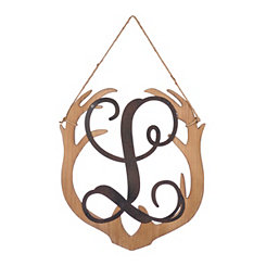 Wooden Antler Monogram L Plaque