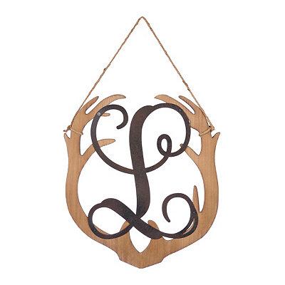 Wooden Antler Monogram L Plaque