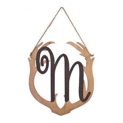 Wooden Antler Monogram M Plaque