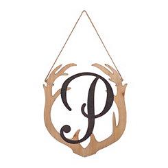 Wooden Antler Monogram P Plaque