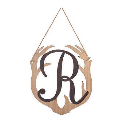 Wooden Antler Monogram R Plaque