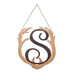 Wooden Antler Monogram S Plaque