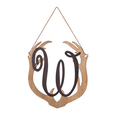 Wooden Antler Monogram W Plaque