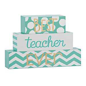 Best Teacher Ever Word Blocks, Set of 3
