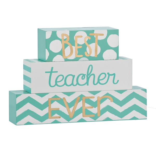 Set of 3 Best Teacher Ever Word Blocks