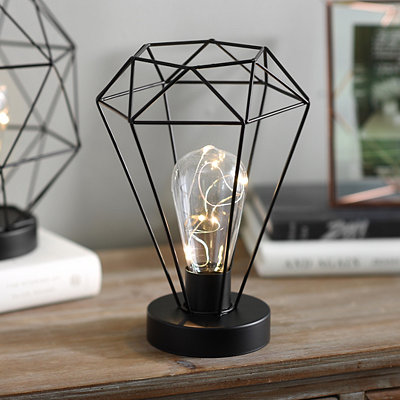 Black Tall Diamond Cage Decorative Light