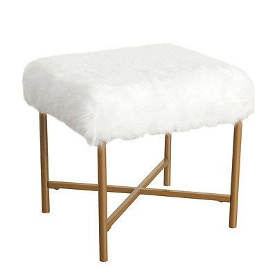 White Faux Fur Bench, Small