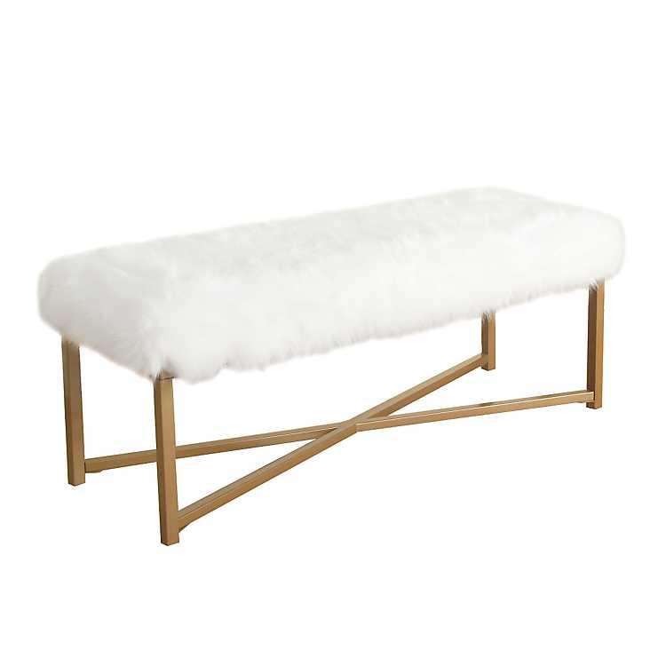 White Faux Fur Bench Large Kirklands