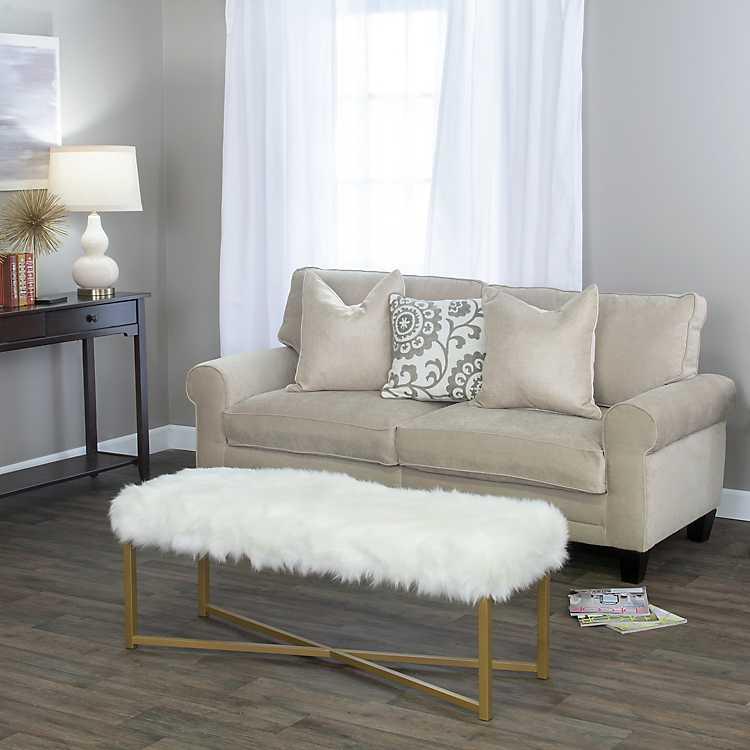 White Faux Fur Bench, Large