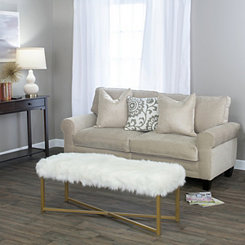 White Faux Fur Bench, Large