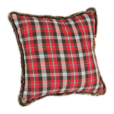 Red Plaid and Faux Fur Pillow