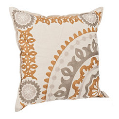 Yellow Stone Medallion Embroidered Pillow