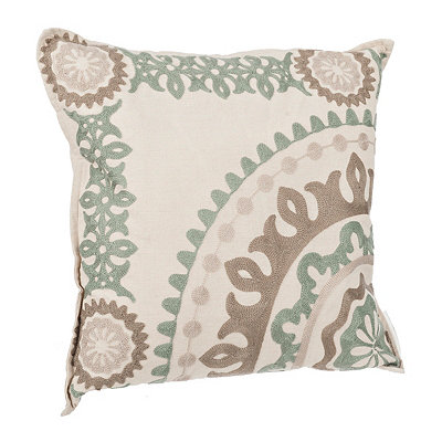 Blue Stone Medallion Embroidered Pillow