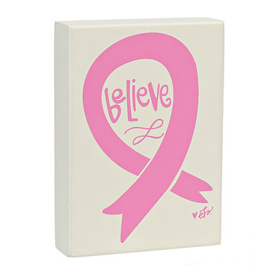 Believe Breast Cancer Awareness Word Block