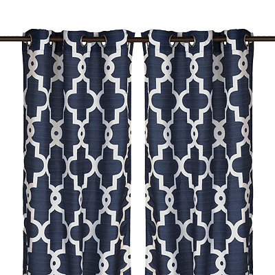 Navy Maxwell Curtain Panel Set, 108 in.