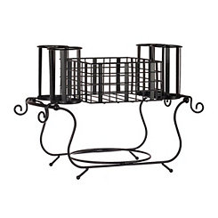 Cage Black Metal Buffet Caddy, Set of 2