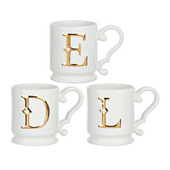 Gold Monogram White Ceramic Mugs