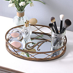 Waverly Antiqued Monogram Mirrored Tray